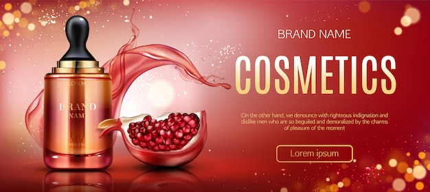 Pomegranate cosmetic bottle banner Free Vector