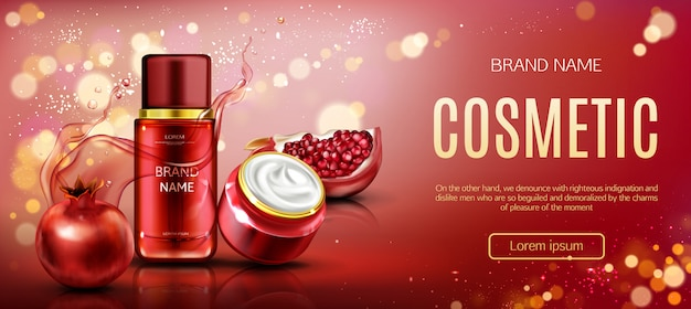 Pomegranate cosmetic bottles  beauty banner Free Vector