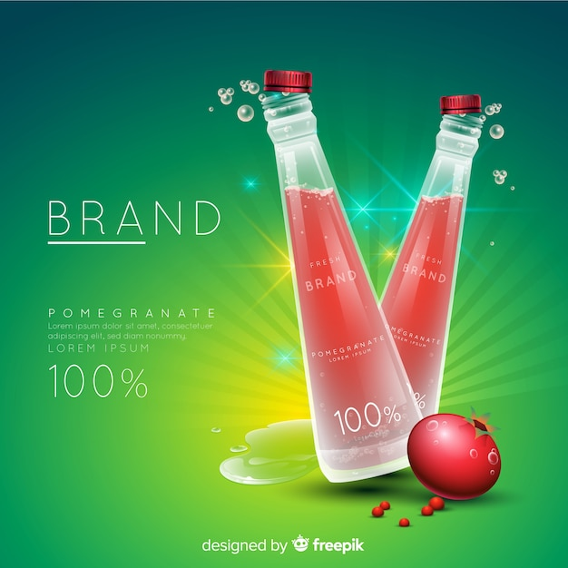 Pomegranate juice ad Free Vector