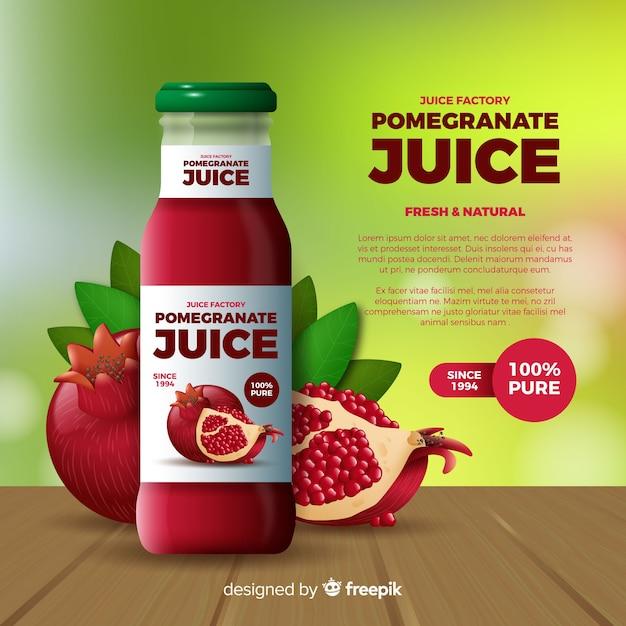Pomegranate juice ad Free Vector