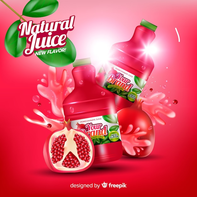 Pomegranate juice background Free Vector