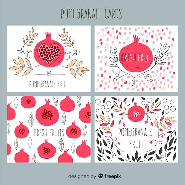 Raccolta di carte di melograno e foglie Vettore gratuito