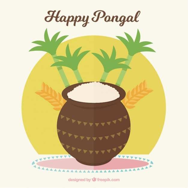 Pongal background with sugarcanes and rice Free Vector