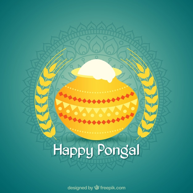 Pongal background with yellow pot and ornamental decoration Free Vector