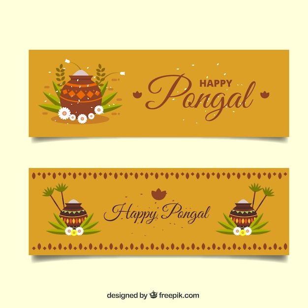 Pongal banners with flowers and pots Free Vector