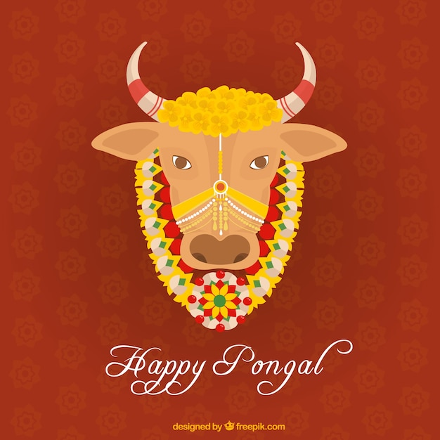 Pongal cow illustration Free Vector