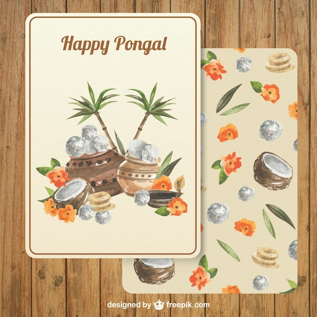 Pongal greeting card in hand painted style vector free download pongal greeting card in hand painted style free vector m4hsunfo