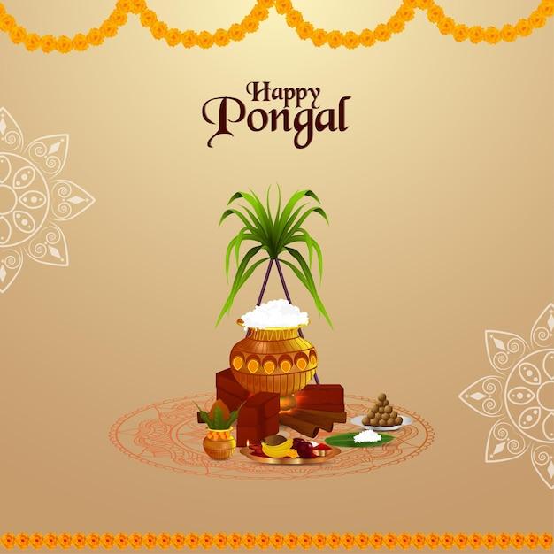 Pongal greeting card Premium Vector