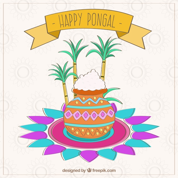 Pongal indian card Free Vector