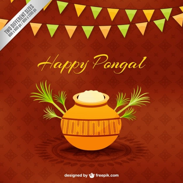 Pongal rice pot on brown background Free Vector
