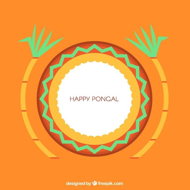 Минималистский фон для pongal с sugarcanes Бесплатные векторы