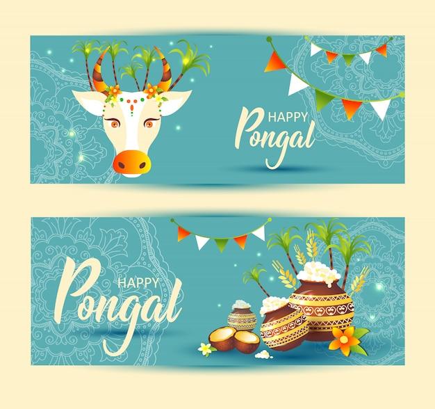 南インドの祭りpongal背景テンプレート Premiumベクター