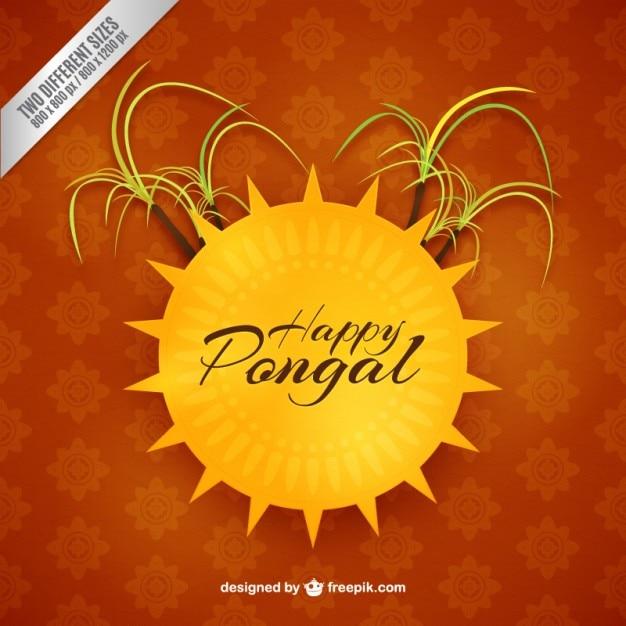 Счастливый фон pongan с солнцем Бесплатные векторы