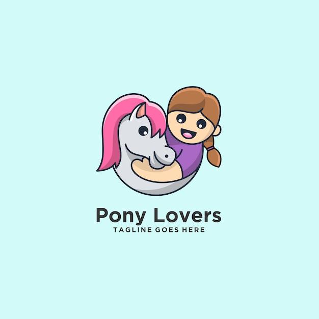 Пони любители лошадь с детьми симпатичные иллюстрации. Premium векторы