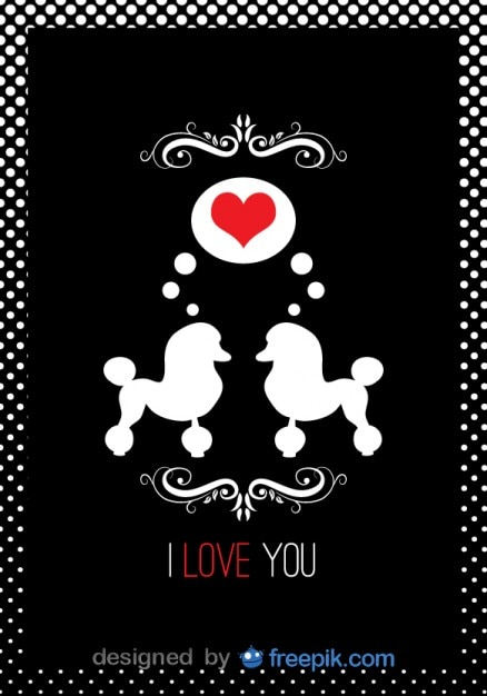 Poodle couple in love card Free Vector