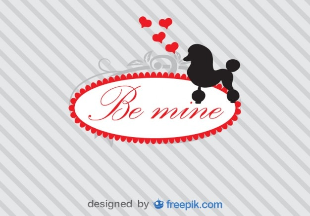 Poodle silhouette and love message card Free Vector