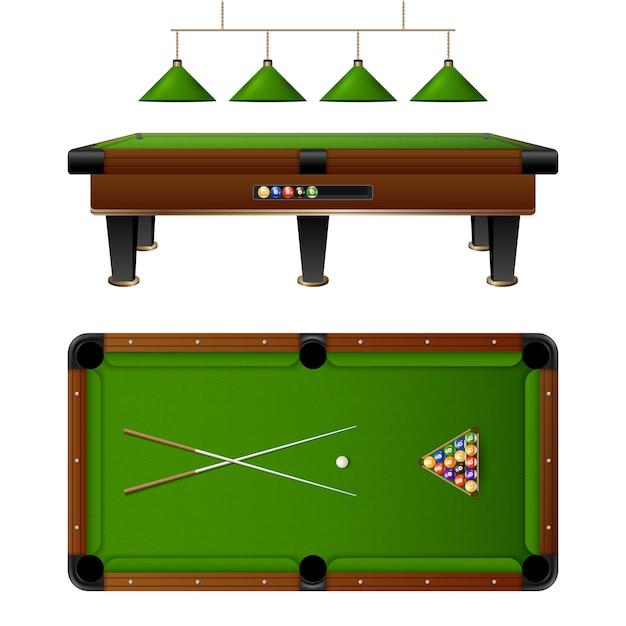 Pool billiard table and furniture set Free Vector