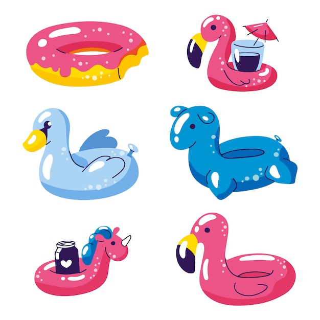 Pool cute kids inflatable floats icons isolated on white. Premium Vector