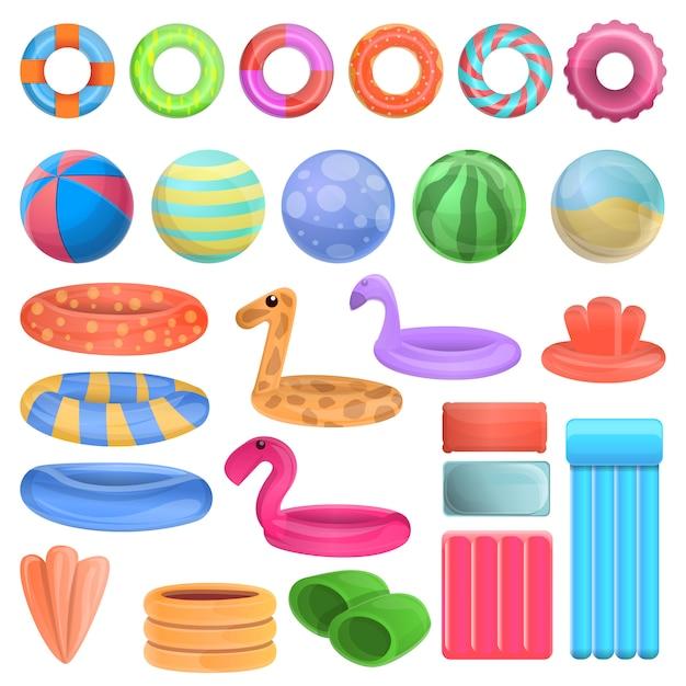 Pool equipment icons set, cartoon style Premium Vector