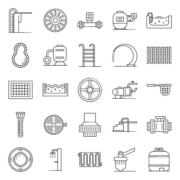 Pool equipment icons set, outline style Premium Vector