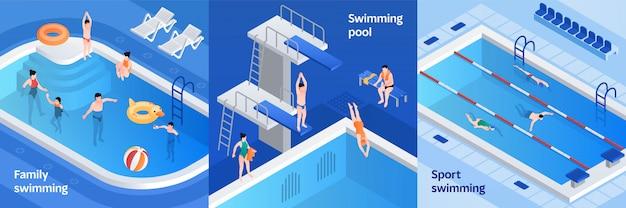 Pool equipment illustration set, isometric style Premium Vector