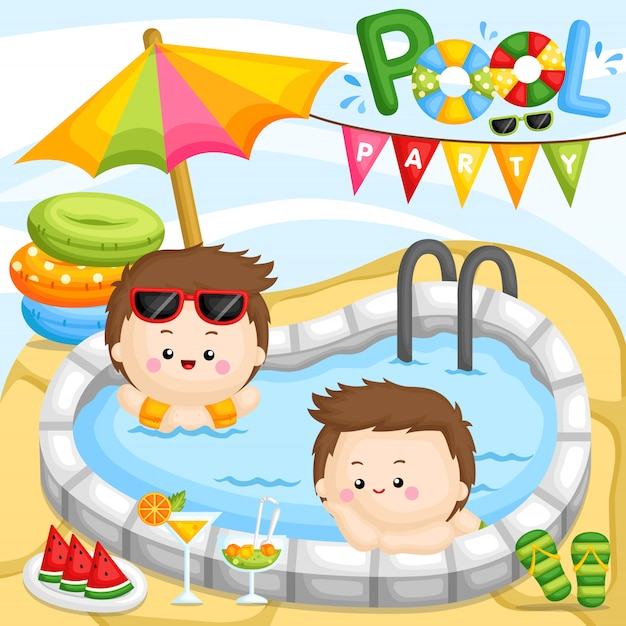 Pool party boy Premium Vector