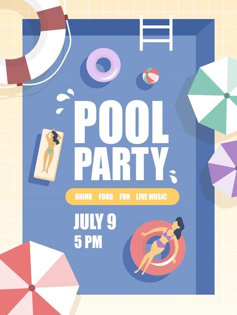 Флаер вечеринки у бассейна с людьми, отдыхающими и загорающими. Premium векторы