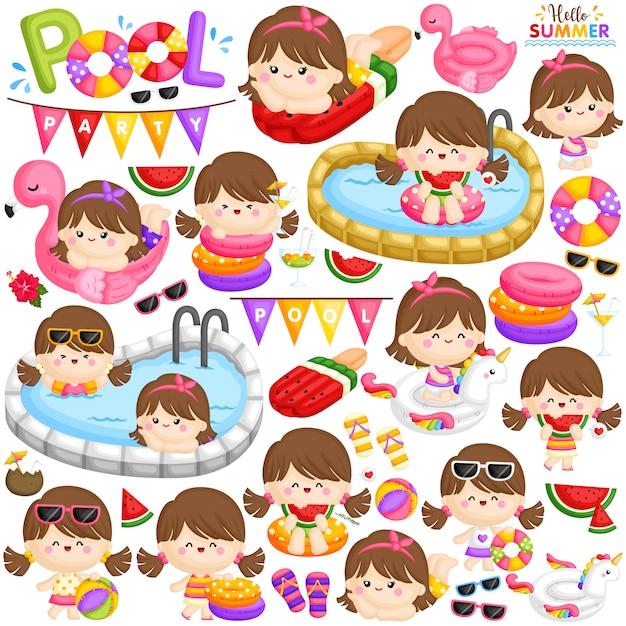 Pool party girl set Premium Vector