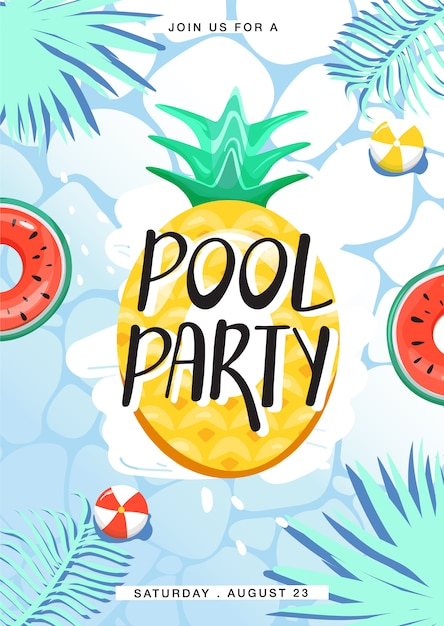 Pool party invitation poster. various inflatable swimming pool rings in swimming pool. creative lettering, water surface and palm leaves. summer rest and vacation. vector illustration. Premium Vector