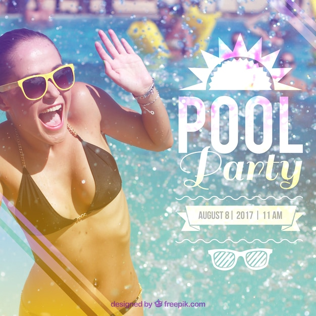 Pool party invitation Free Vector