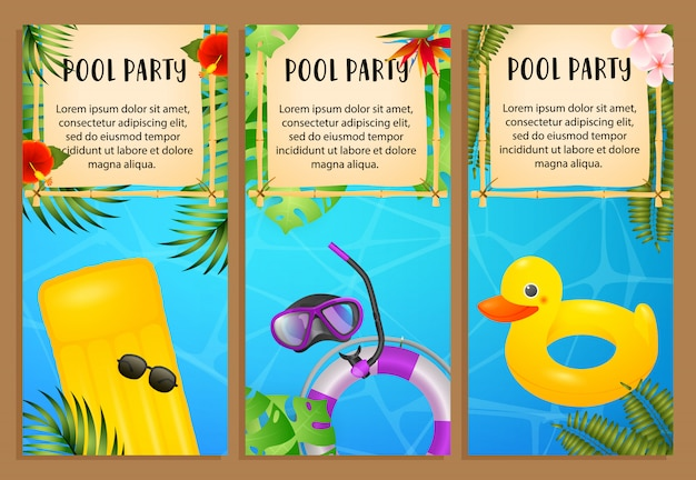 Pool party letterings set, air mattress, swimming ring Free Vector