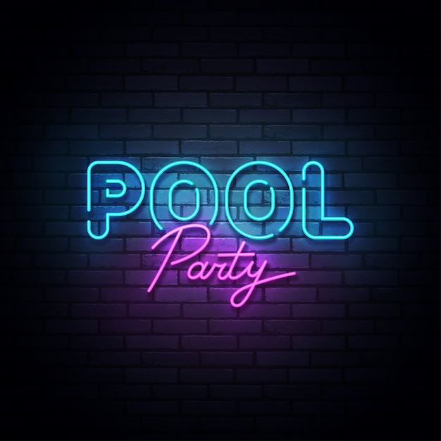 Pool party neon sign, bright signboard, light banner. pool party logo neon, emblem. illustration Premium Vector