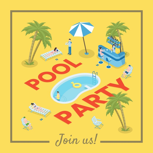 Pool party social media banner template. active summer recreation, seasonal leisure Premium Vector