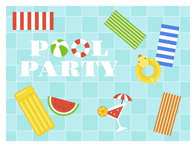 Pool party, top view swimming pool vector Premium Vector