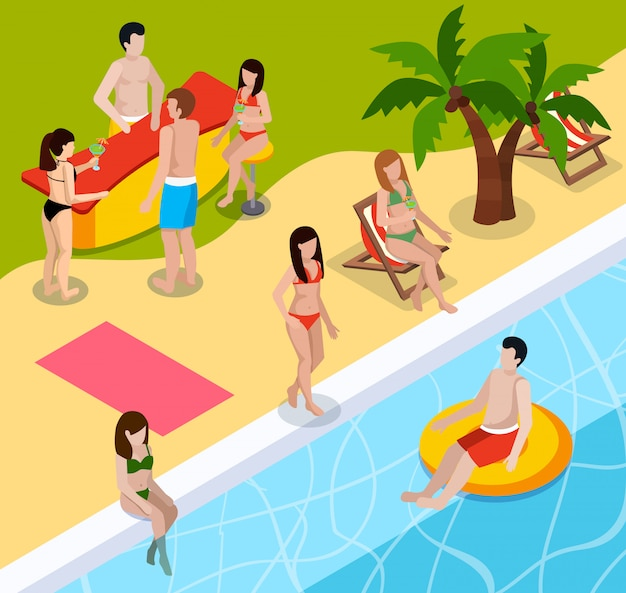 Pool rest isometric composition Free Vector