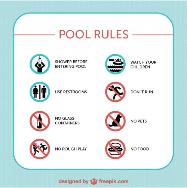 Pool Safety Rules Signs Vector Free Download