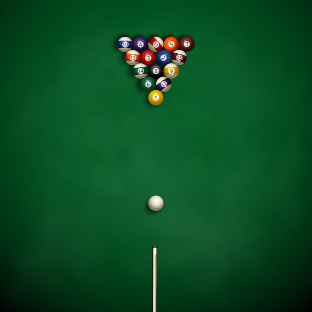 Pool table with balls on the cloth. Premium Vector