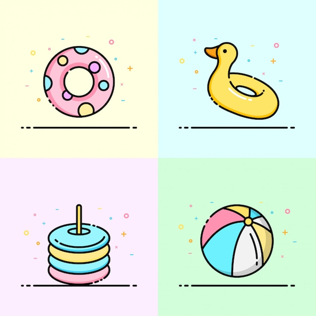 Pool toy collection in pastel color Premium Vector