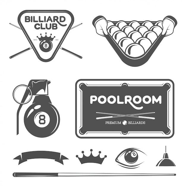 Poolroom set Premium Vector