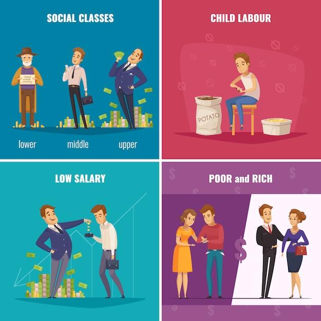 Концепция бедных и богатых 2x2 Бесплатные векторы