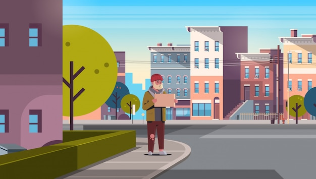 Poor bearded man begging for help beggar guy holding sign board homeless jobless modern city street cityscape Premium Vector