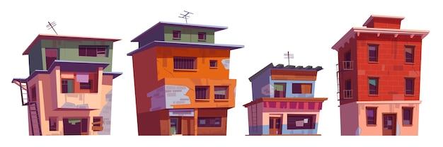 Бедные грязные дома в районе гетто. Бесплатные векторы