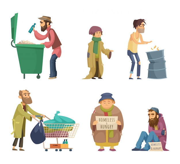 Poor and homeless adults people. vector characters set Premium Vector