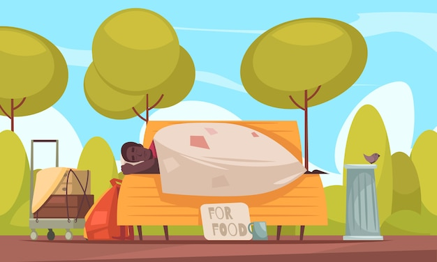 Poor homeless man sleeps outdoor on bench with beggars cup asking money for food flat banner Free Vector