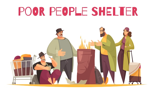 Poor homeless shelter outdoor flat comic composition with people burning fire surviving cold on street Free Vector