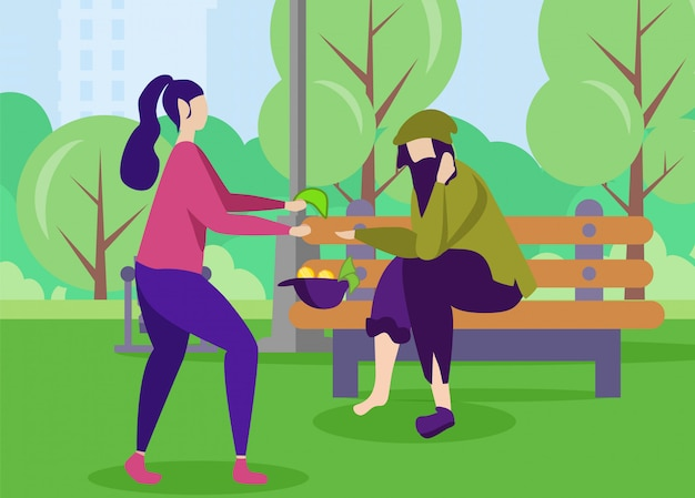 Poor man and kind woman help support motivation Premium Vector