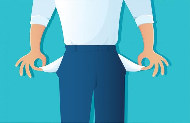 Poor man showing his empty pockets on blue Premium Vector