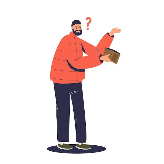 空の財布を持つ貧しい男。財政問題と事業破産の概念。お金がない悲しい実業家 Premiumベクター