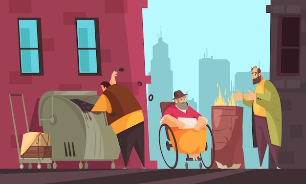 I poveri sopravvivono all'inverno per le strade della città alla ricerca di cibo nel bidone della spazzatura piatto banner Vettore gratuito