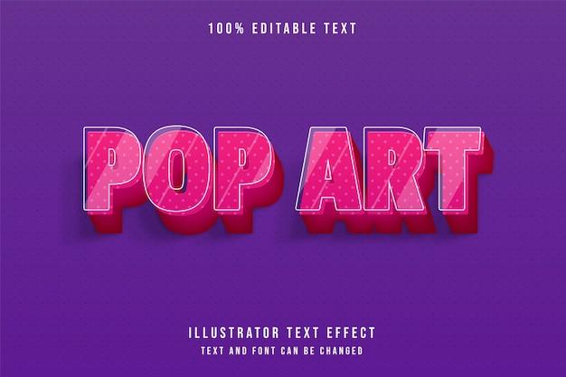 팝 아트, 3d 편집 가능한 텍스트 효과 현대 핑크 그라데이션 귀여운 텍스트 스타일 프리미엄 벡터